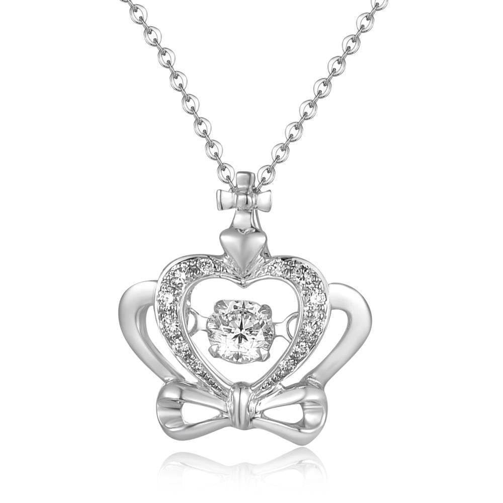 Dancing Diamonds Heart-Bow Pendant in 18k White Gold with Diamonds (0.19ct) Pendant IAD