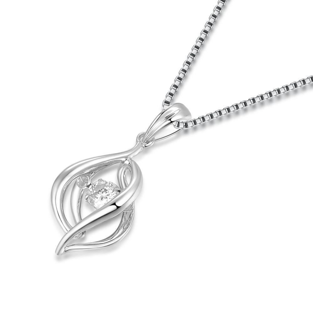Dancing Diamonds Ribbon Pendant in 18k White Gold with Diamonds (0.124ct) Pendant IAD