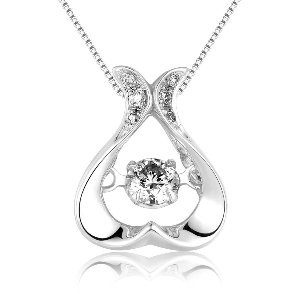 Dancing Diamonds Ribbon Pendant in 18k White Gold with Diamonds (0.132ct) Pendant IAD