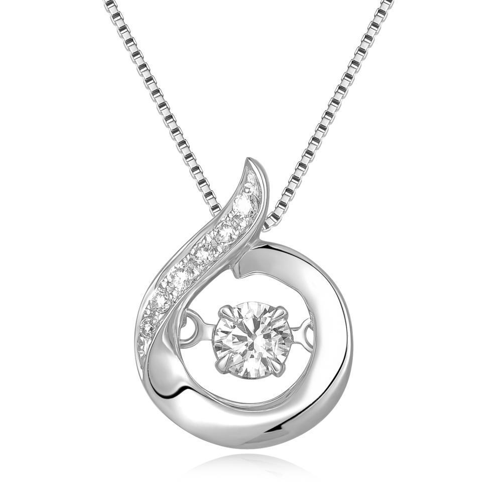 Dancing Diamonds Ribbon Pendant in 18k White Gold with Diamonds (0.137ct) Pendant IAD