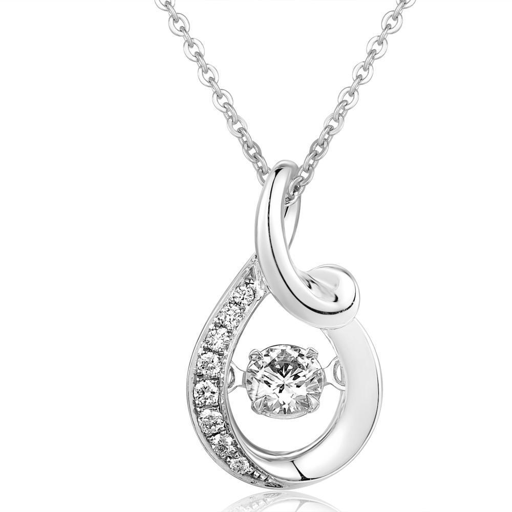 Dancing Diamonds Ribbon Pendant in 18k White Gold with Diamonds (0.158ct) Pendant IAD