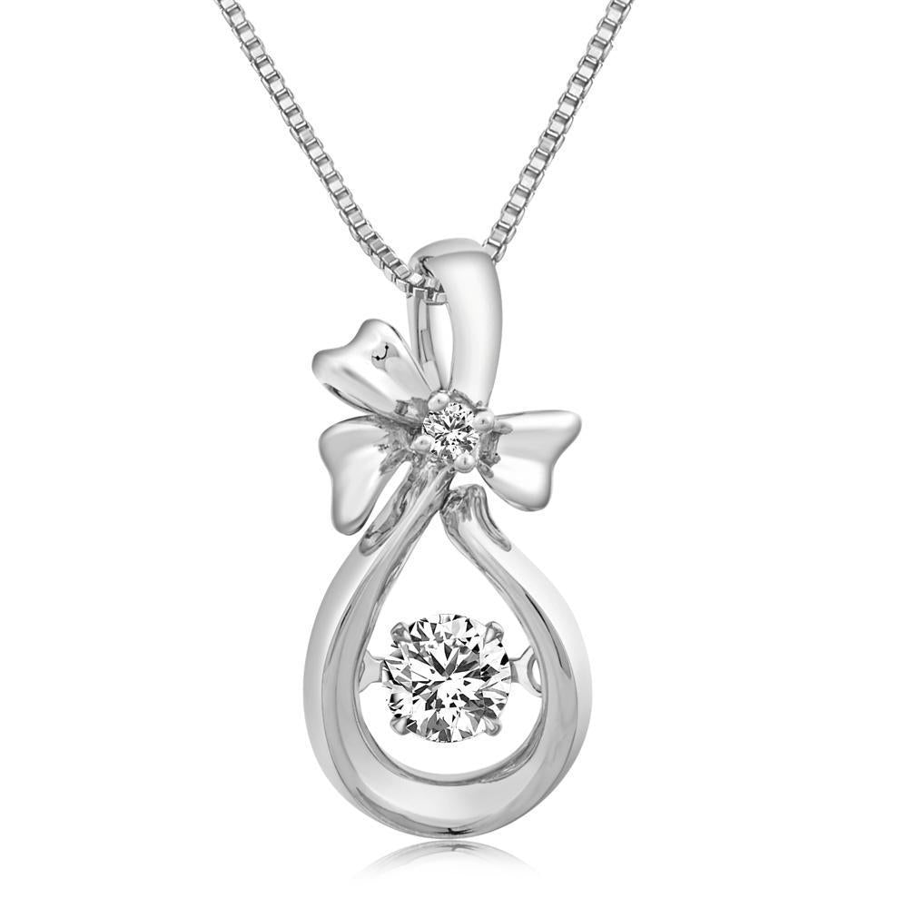 Dancing Diamonds Ribbon Pendant in 18k White Gold with Diamonds (0.172ct) Pendant IAD