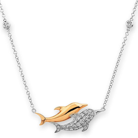 Dolphin Pendant in 18k White Gold with Diamonds (0.101ct)