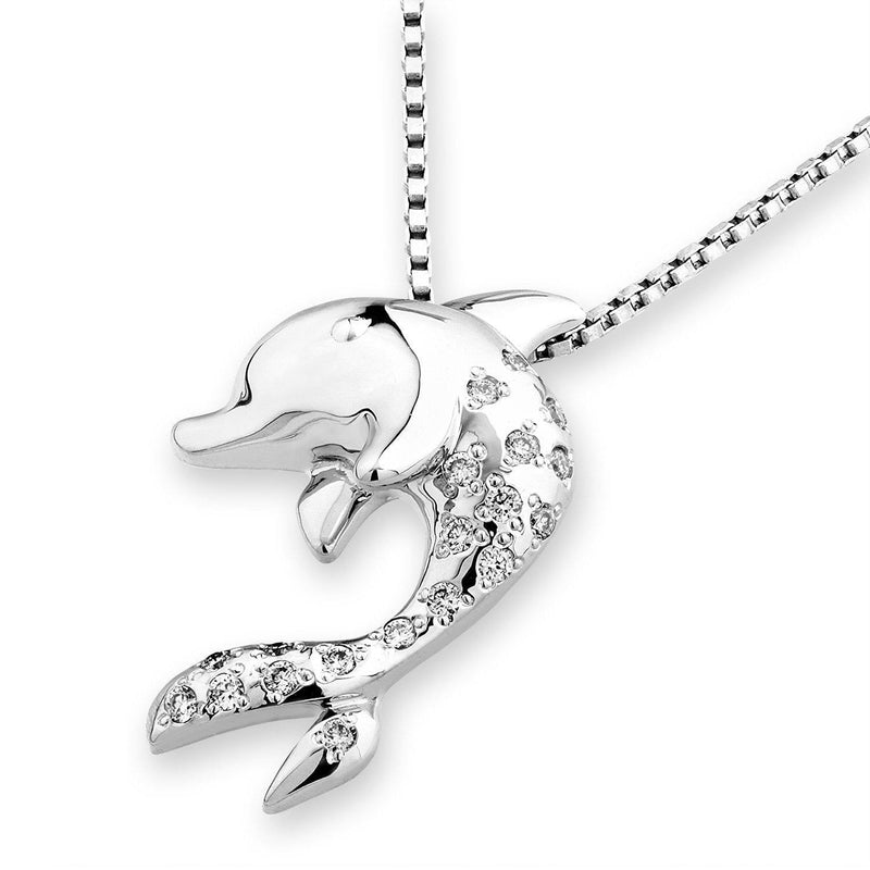 Dolphin Pendant in 18k White Gold with Diamonds (0.101ct) Pendant IAD