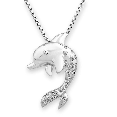 Whale-Tail Pendant in 18k White Gold with Diamonds (0.117ct)