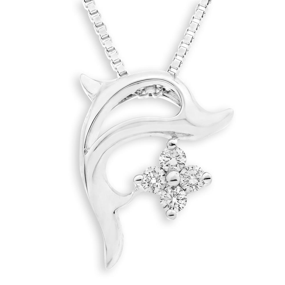 Dolphin Pendant in 18k White Gold with Diamonds (0.114ct) Pendant IAD