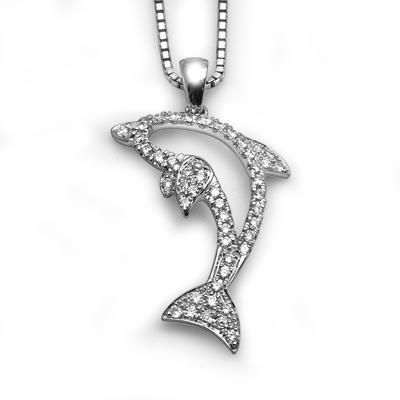 Dolphin Pendant in 18k White Gold with Diamonds (0.167ct) Pendant IAD