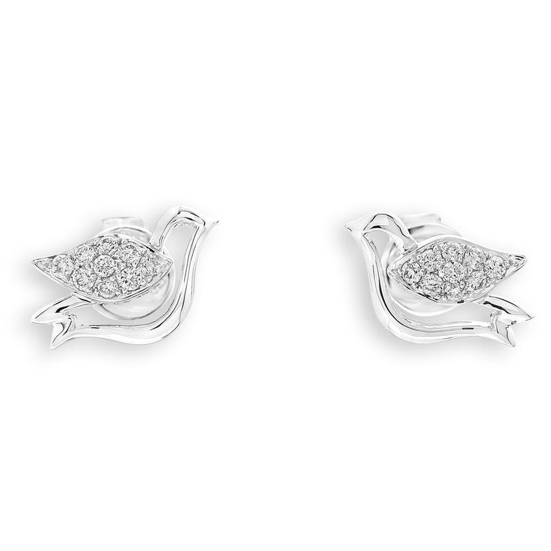 Dove Earrings in 18k White Gold with Diamonds (0.139ct) Earrings IAD
