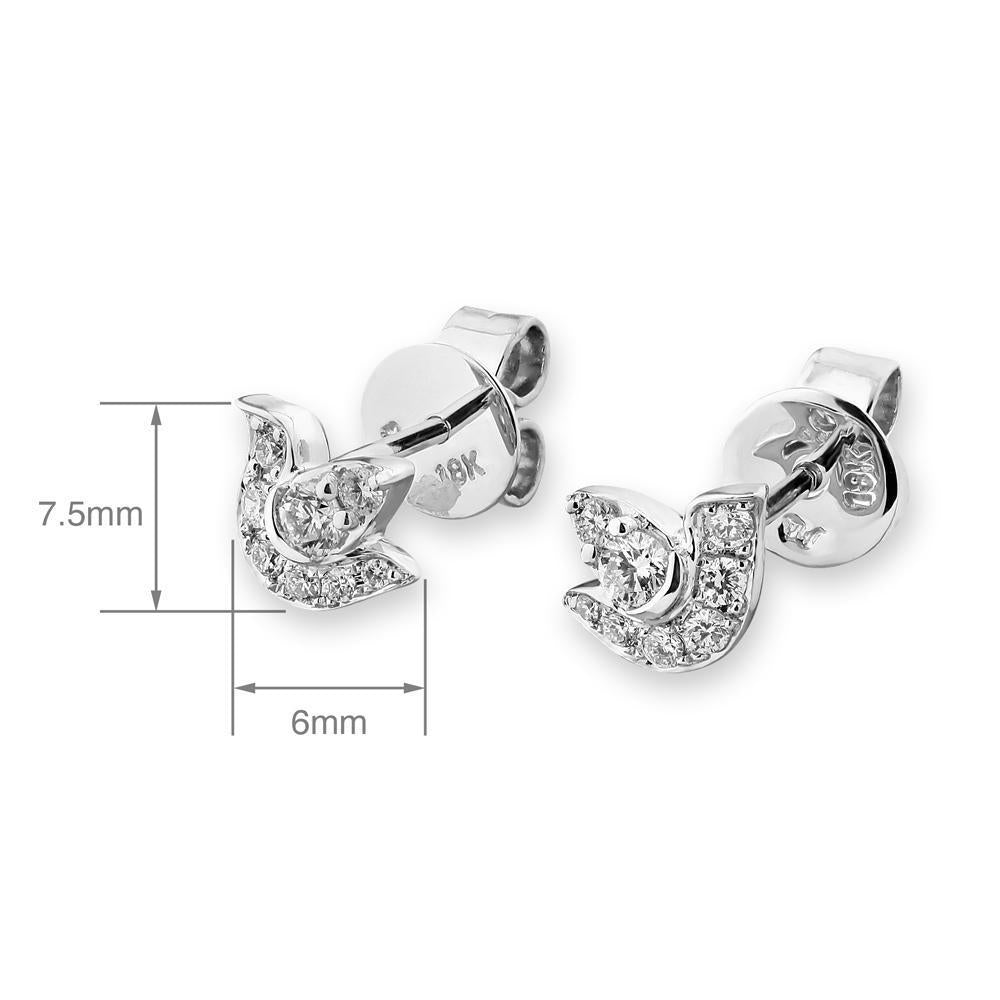 Dove Earrings in 18k White Gold with Diamonds (0.198ct) Earrings IAD