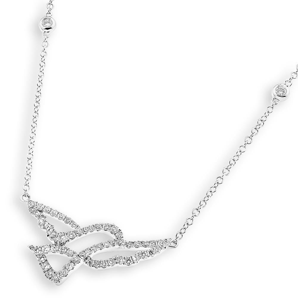 Dove Necklace in 18k White Gold with Diamonds (0.496ct) Necklace IAD