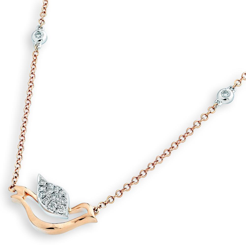 Dove Necklace in 18k White & Rose Gold with Diamonds (0.195ct) Necklace IAD