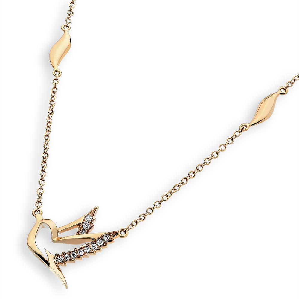 Dove Necklace in 18k Yellow Gold with Diamonds (0.065ct) Necklace IAD