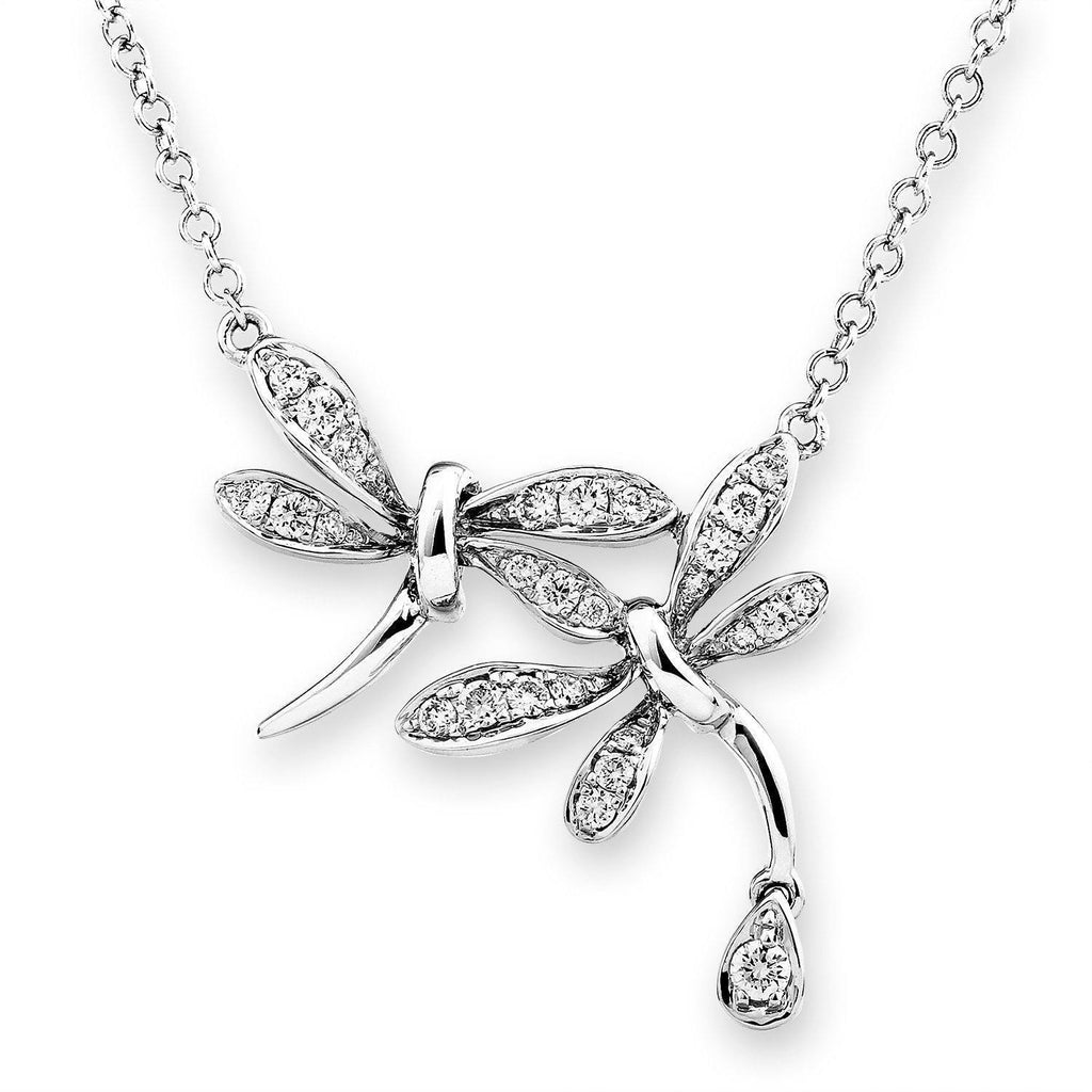 Dragonfly Necklace in 18k White Gold with Diamonds (0.243ct) Necklace IAD