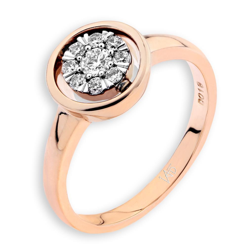 Engagement Ring in 18k Rose Gold with Diamonds (0.182ct) Ring IAD