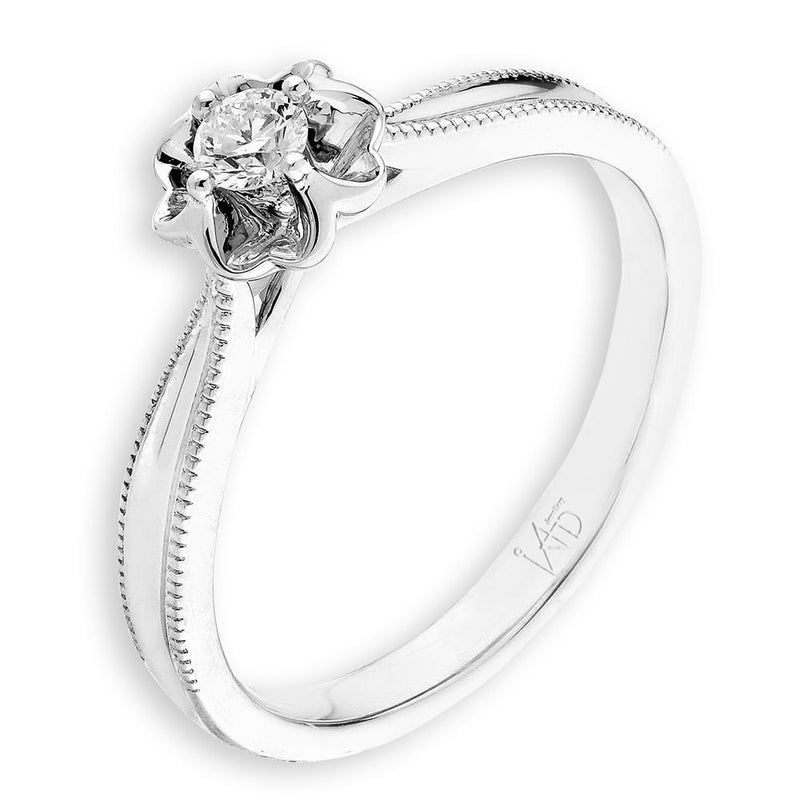 Engagement Ring in 18k White Gold with Diamonds (0.091ct) Ring IAD