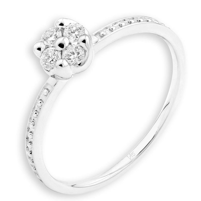 Engagement Ring in 18k White Gold with Diamonds (0.133ct) Ring IAD