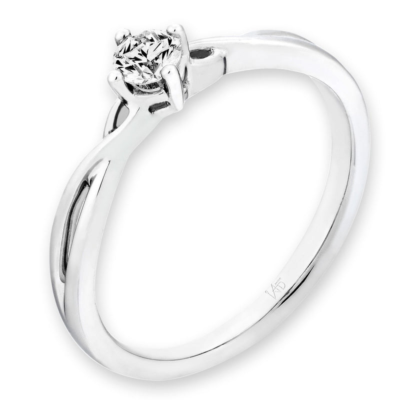 Engagement Ring in 18k White Gold with Diamonds (0.16ct) Ring IAD