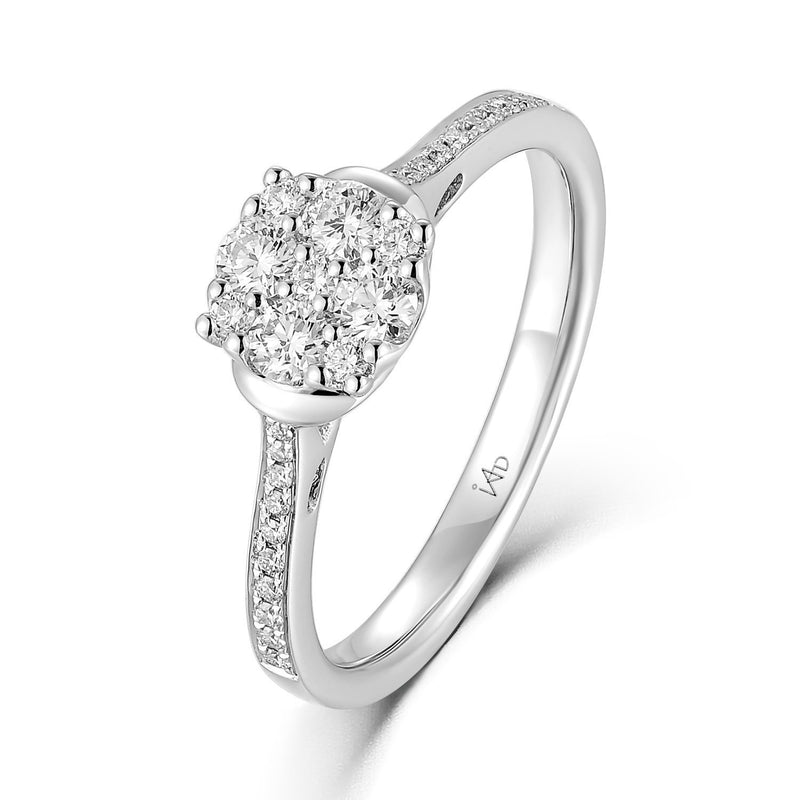 Engagement Ring in 18k White Gold with Diamonds (0.396ct) Ring IAD
