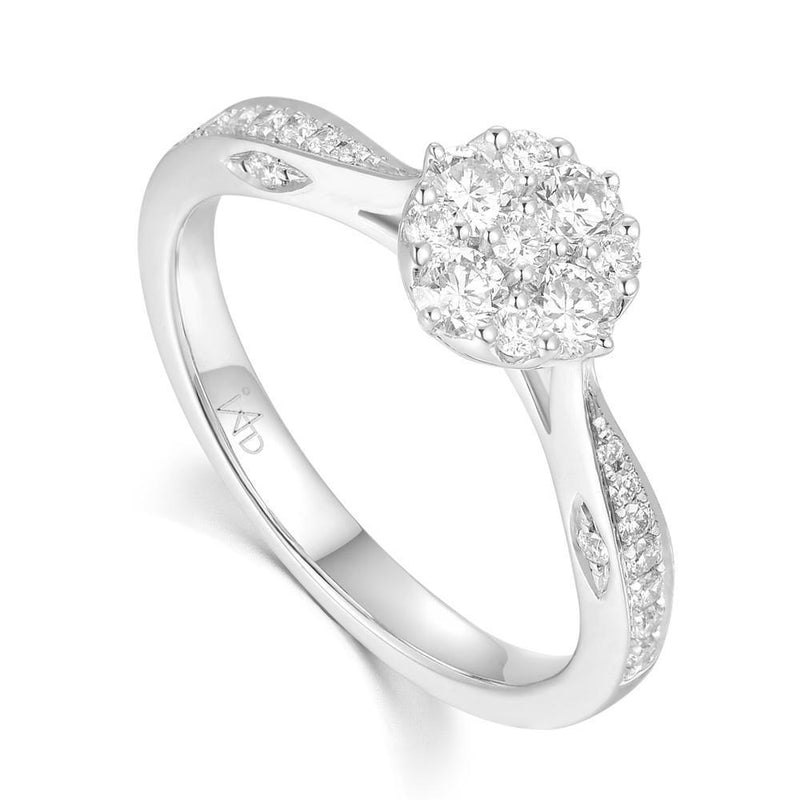 Engagement Ring in 18k White Gold with Diamonds (0.517ct) Ring IAD