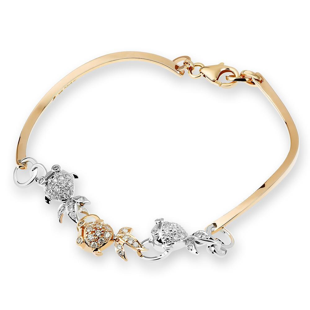 Fish Bangle in 18k White & Yellow Gold with Diamonds (0.46ct) Bangle IAD