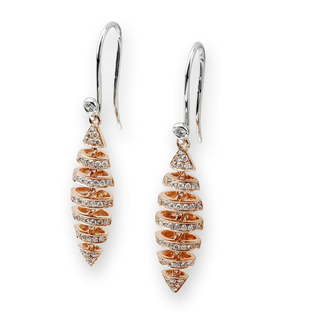 Fish (Ichthys) Earrings in 18k Rose Gold with Diamonds (0.401ct) Earrings IAD