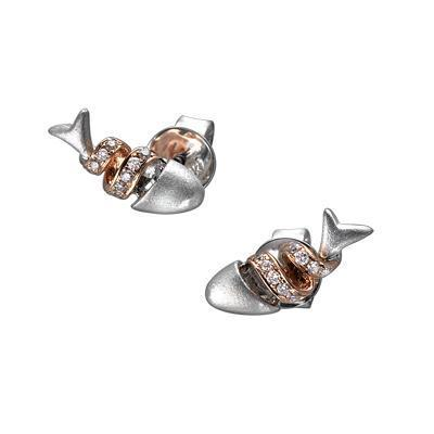 Fish (Ichthys) Earrings in18k White & Rose Gold with Diamonds (0.068ct) Earrings IAD