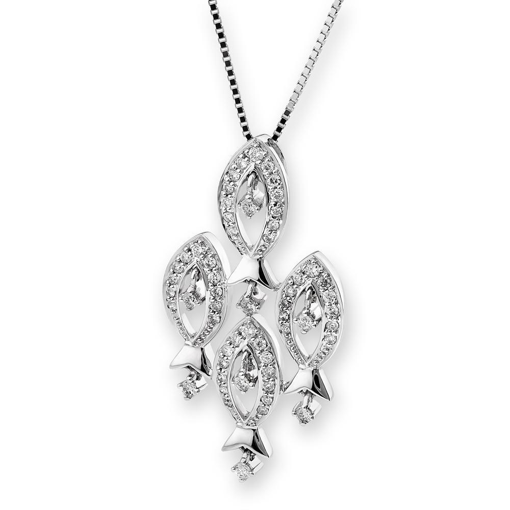Fish (Ichthys) Pendant in 18k White Gold with Diamonds (0.452ct) Pendant IAD