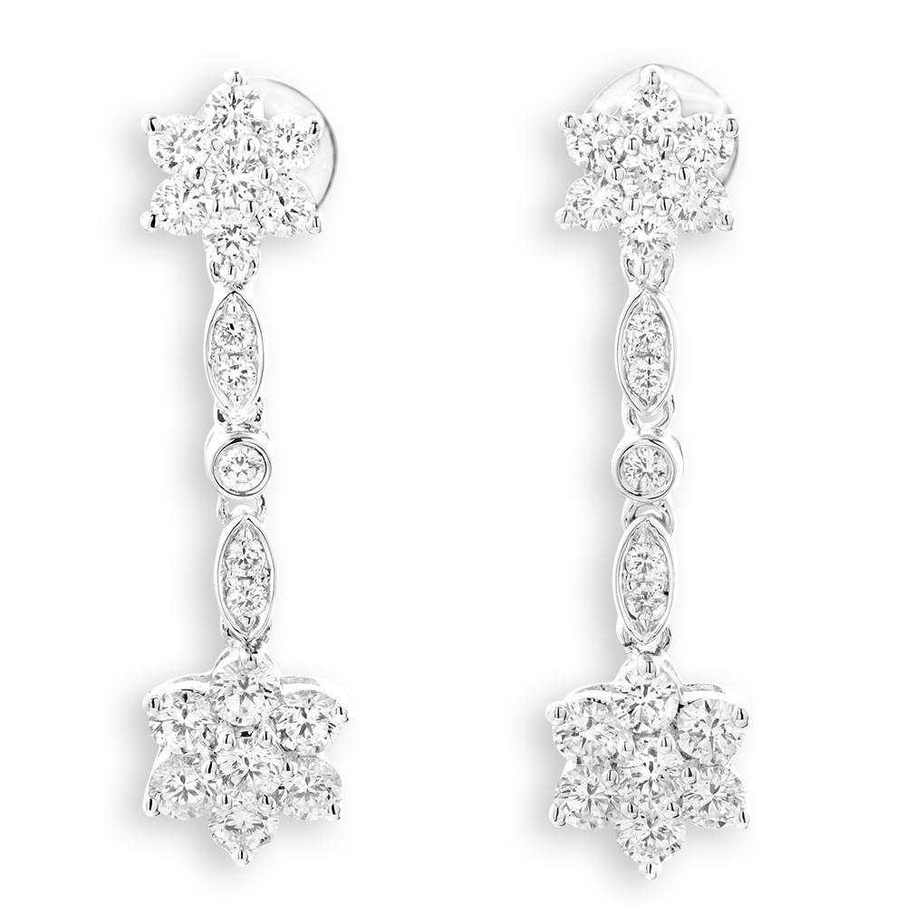 Flower Earrings in 18k White Gold with Diamonds (1.178ct) Earrings IAD