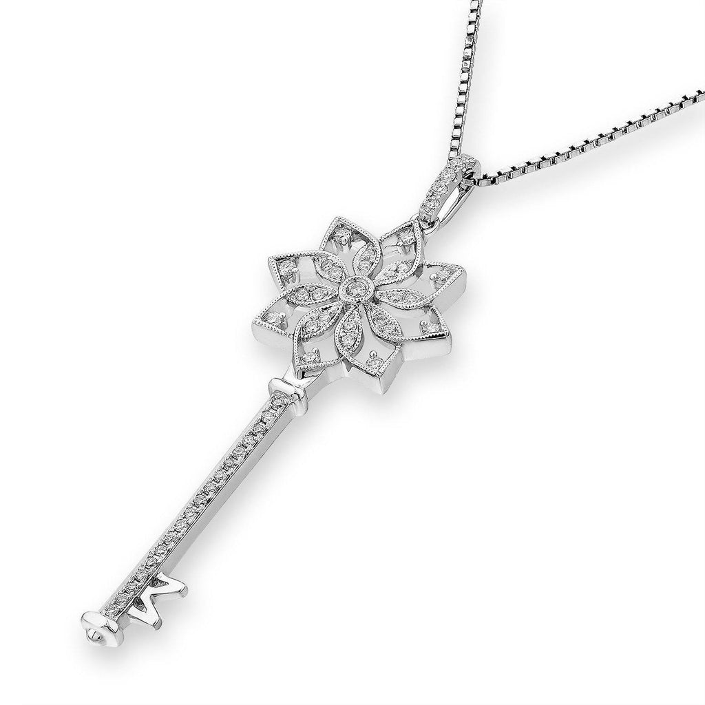 Flower-Key Pendant in 18k White Gold with Diamonds (0.229ct) Pendant IAD
