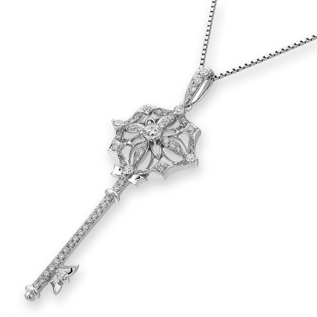 Flower-Key Pendant in 18k White Gold with Diamonds (0.552ct) Pendant IAD