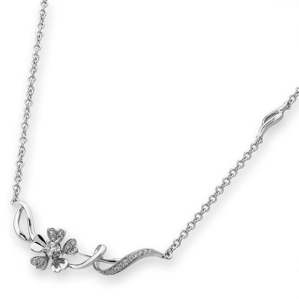 Flower Necklace in 18k White Gold with Diamonds (0.18ct) Necklace IAD