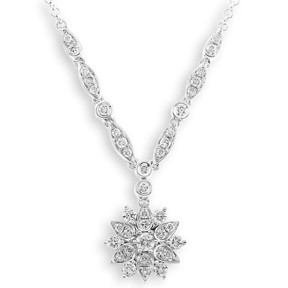 Flower Necklace in 18k White Gold with Diamonds (0.687ct) Necklace IAD
