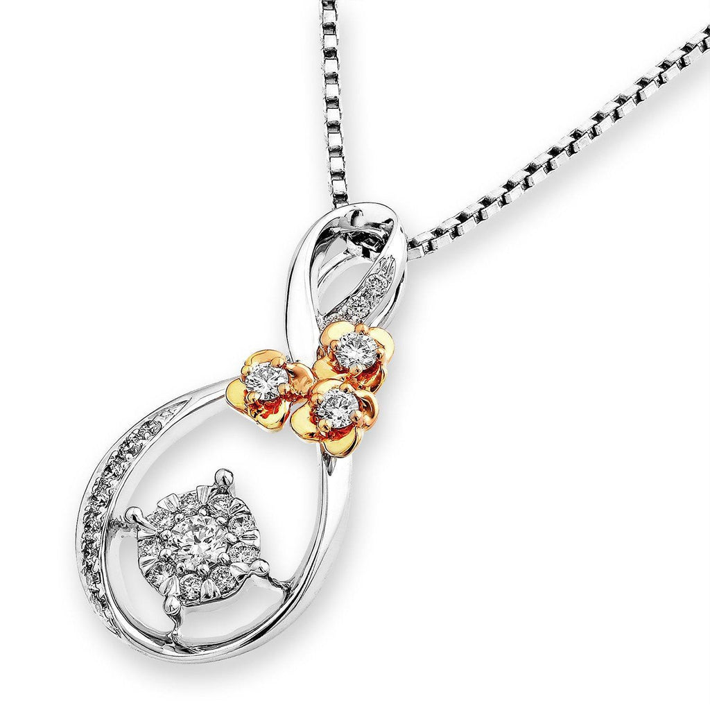 Flower Pendant in 18k Rose & White Gold with Diamonds (0.2ct) Pendant IAD