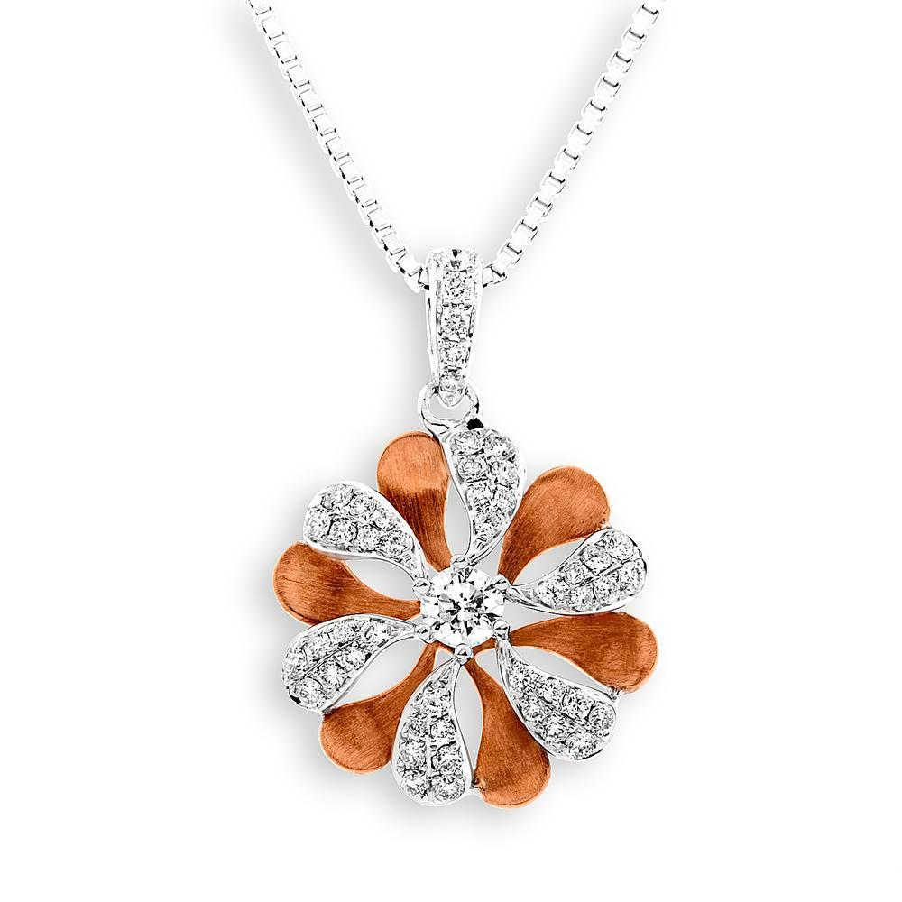 Flower Pendant in 18k Rose & White Gold with Diamonds 0.327ct Pendant IAD