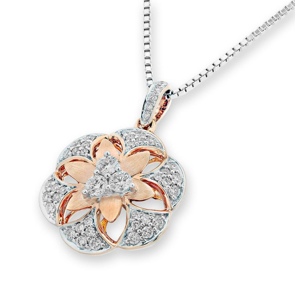 Flower Pendant in 18k Rose & White Gold with Diamonds (0.375ct) Pendant IAD