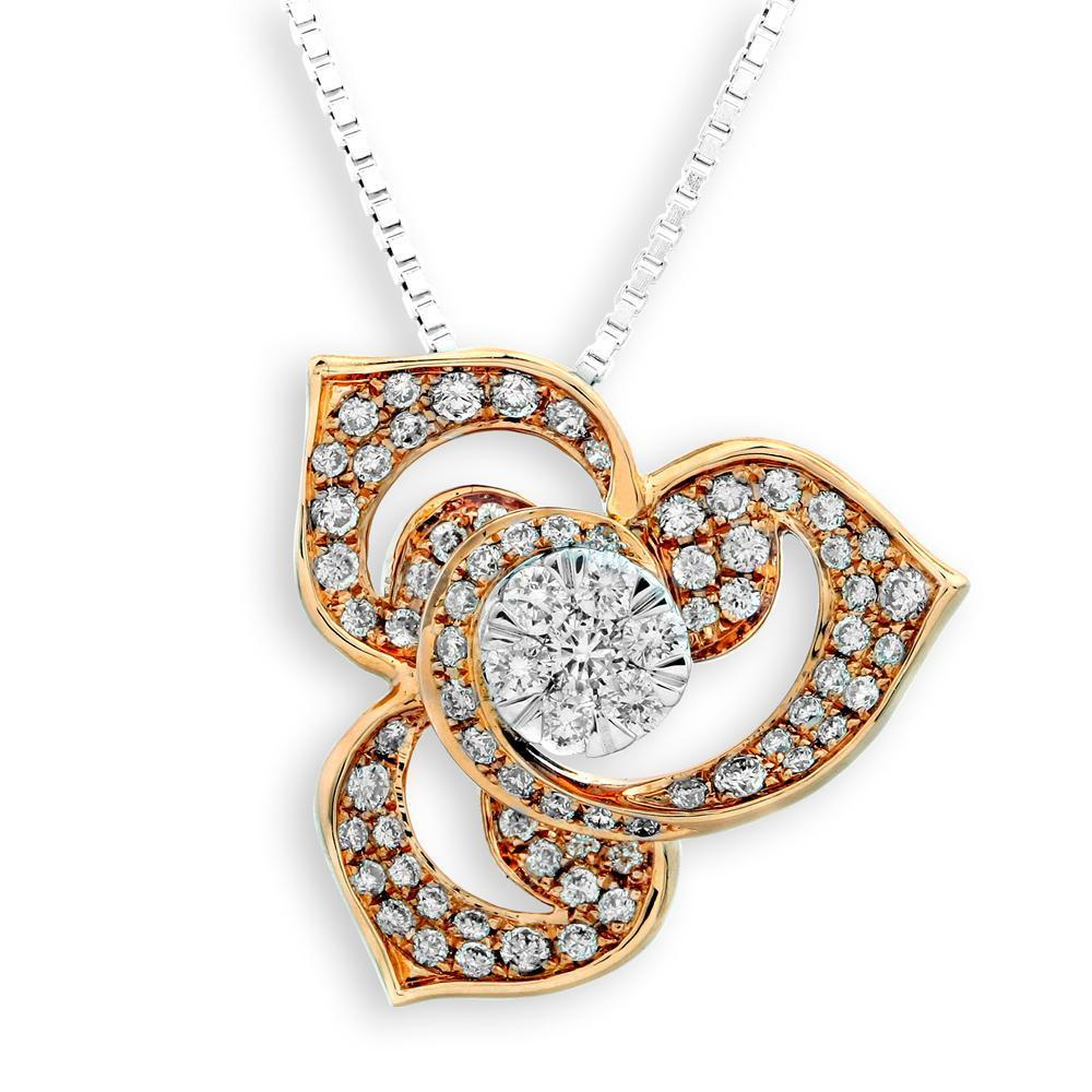 Flower Pendant in 18k Rose & White Gold with Diamonds (0.538ct) Pendant IAD