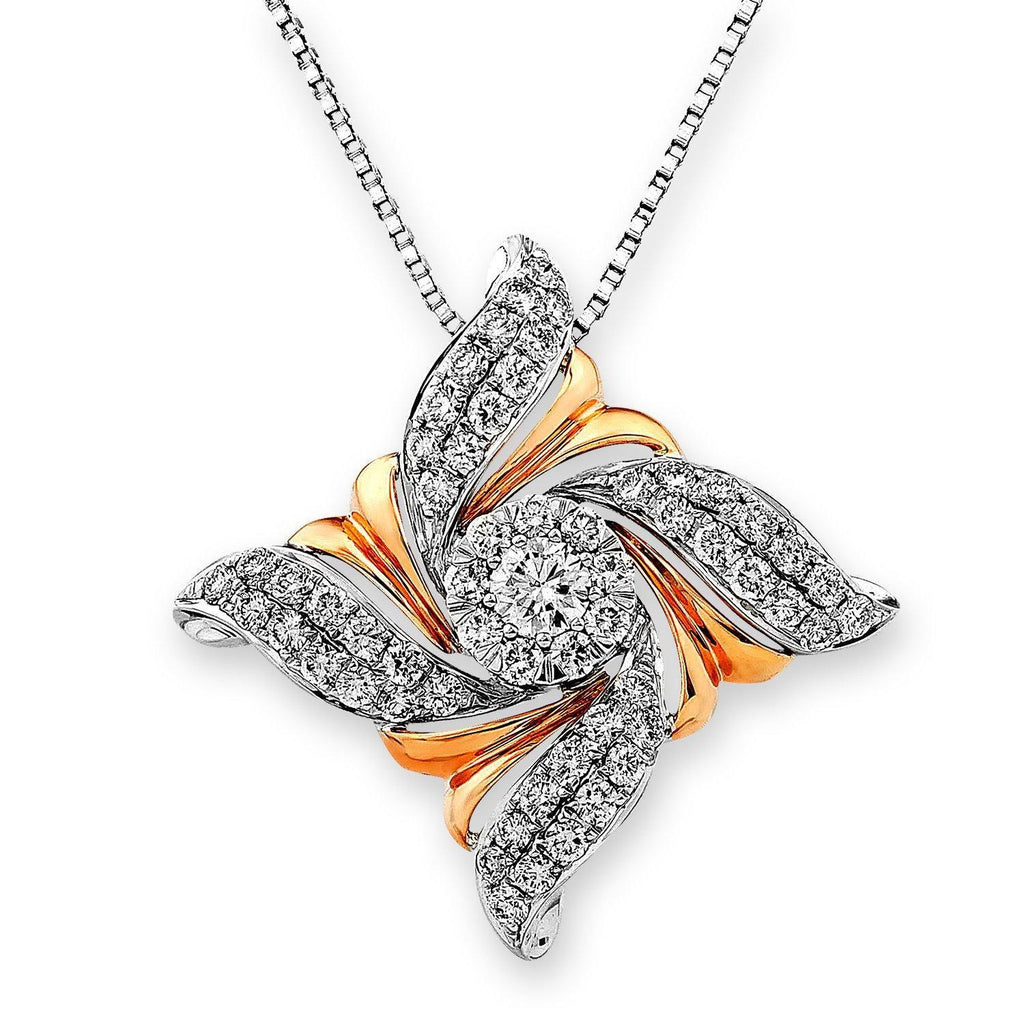 Flower Pendant in 18k Rose & White Gold with Diamonds (1.067ct) Pendant IAD