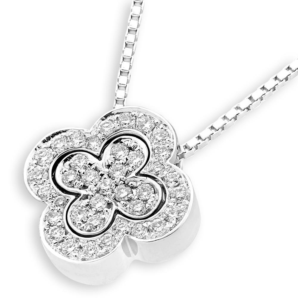 Flower Pendant in 18k White Gold with Diamonds (0.202ct) Pendant IAD