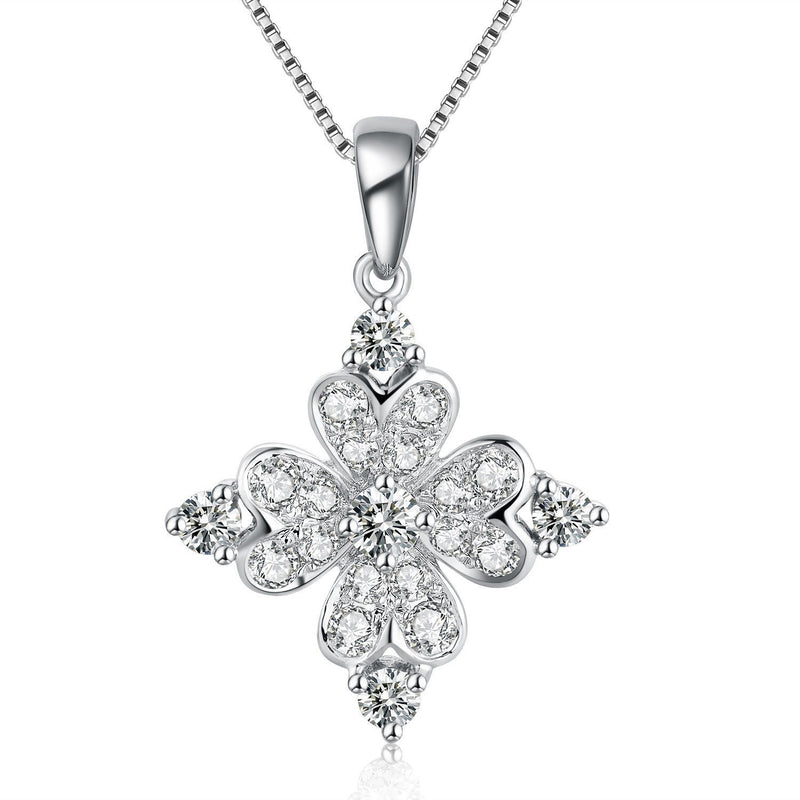 Flower Pendant in 18k White Gold with Diamonds (0.386ct) Pendant IAD