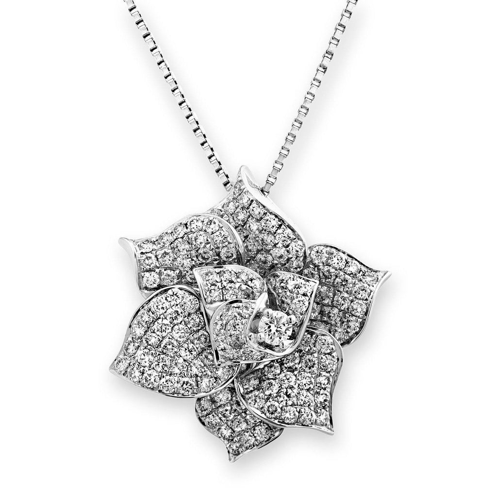 Flower Pendant in 18k White Gold with Diamonds (1.215ct ) Pendant IAD