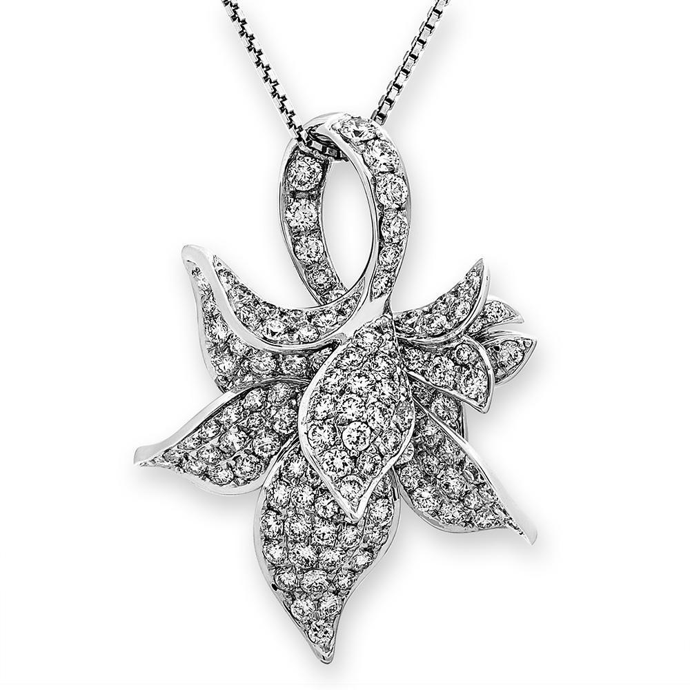 Flower Pendant in 18k White Gold with Diamonds (1.354ct) Pendant IAD