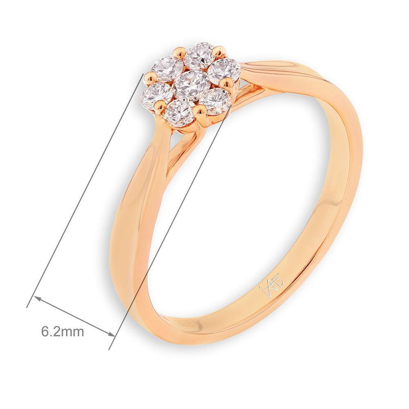 Flower Ring in 18k Rose Gold with Diamonds (0.231ct) Ring IAD