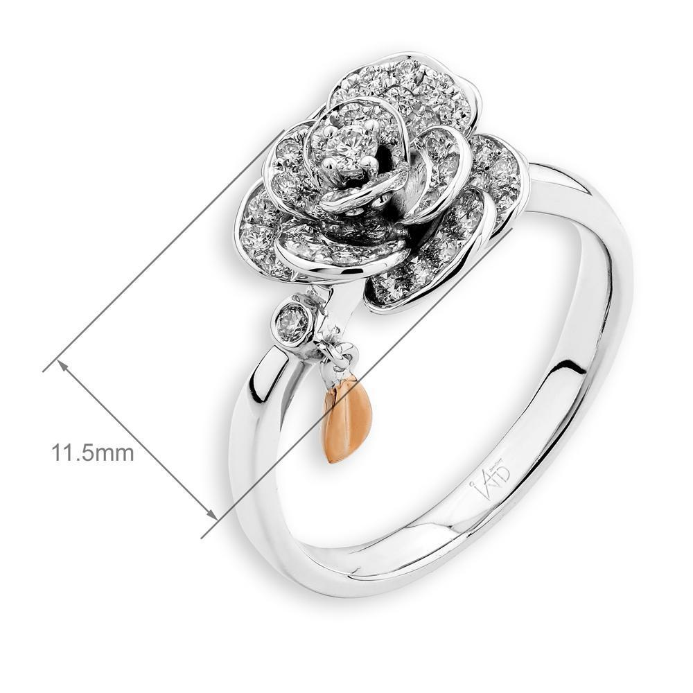 Flower Ring in 18k White Gold & Rose Gold with Diamonds (0.407ct) Ring IAD