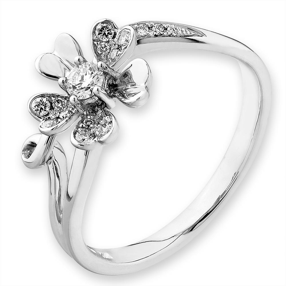 Flower Ring in 18k White Gold with Diamonds (0.147ct) Ring IAD