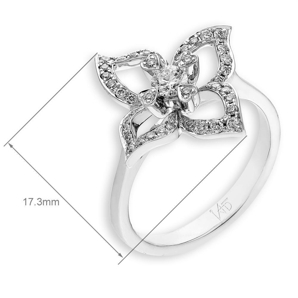 Flower Ring in 18k White Gold with Diamonds (0.33ct) Ring IAD