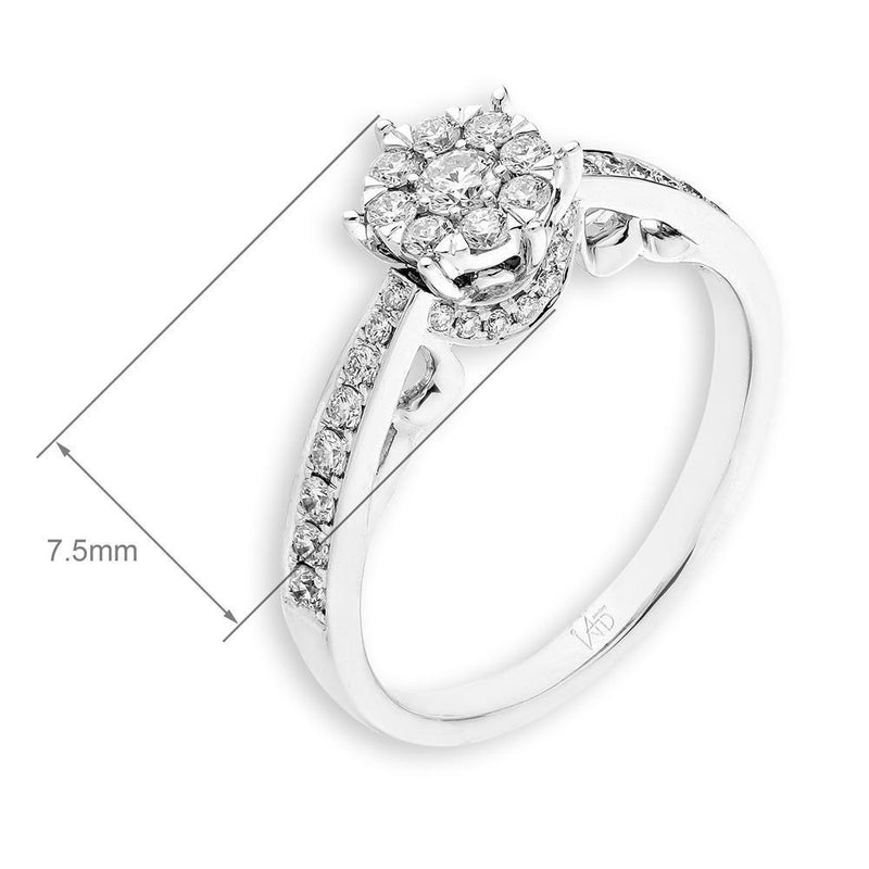 Flower Ring in 18k White Gold with Diamonds (0.422ct) Ring IAD