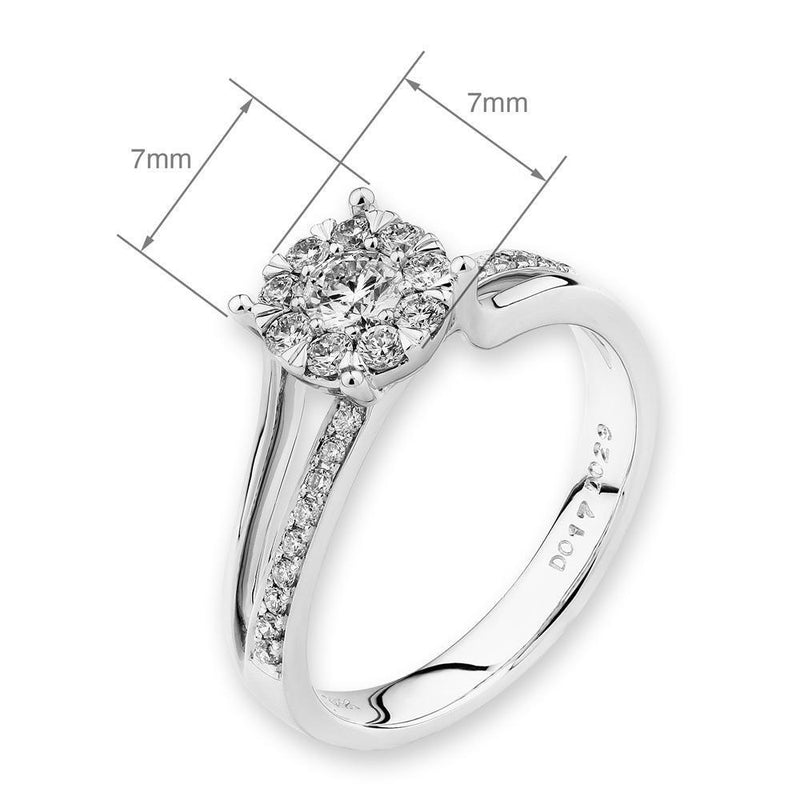 Flower Ring in 18k White Gold with Diamonds (0.442ct) Ring IAD