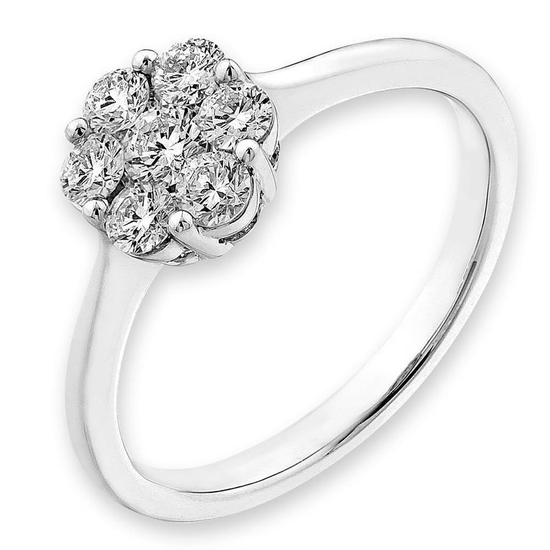 Flower Ring in 18k White Gold with Diamonds (0.507ct) Ring IAD