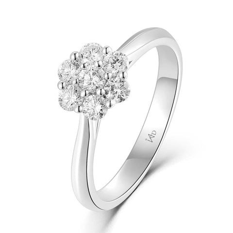 Flower Ring in 18k White Gold with Diamonds (0.422ct)