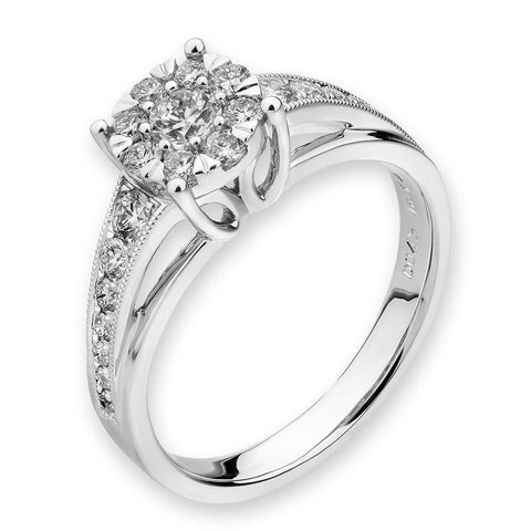 Flower Ring in 18k White Gold with Diamonds (0.559ct)